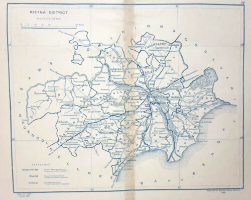 Map  KISTNA DISTRICT dated 1898  Survey Office Madras India 14in x 13in