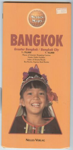 Nelles Maps BANGKOK City and Greater Area-  double-sided Printed in West Germany