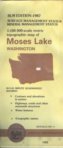 USGS BLM edition topographic map Washington MOSES LAKE 1987 RITZVILLE SW mineral
