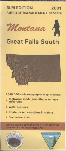 USGS BLM edition topographic map Montana GREAT FALLS SOUTH 2001