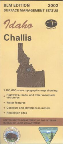 USGS BLM edition topographic map Idaho CHALLIS - 2002 - surface only -