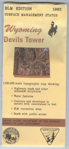 USGS BLM edition topographic map Wyoming DEVILS TOWER 1993