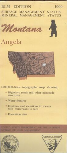 USGS BLM edition topographic map Montana ANGELA 1999 mineral