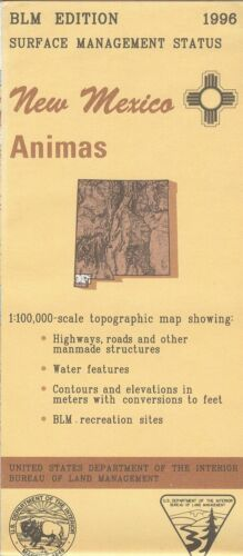 USGS BLM edition topographic map ANIMAS New Mexico 1996 surface 100K