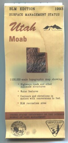 USGS BLM edition topographic map Utah MOAB -1993- water damaged & stained - 100K