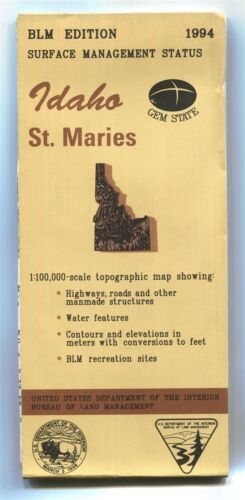 USGS BLM edition topographic map Idaho ST. MARIES - 1994 - surface - 100K