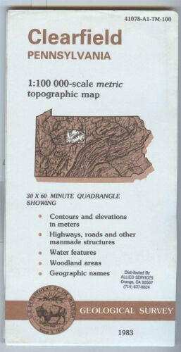 USGS Topographic Map  CLEARFIELD Pennsylvania 1983 - 100K -