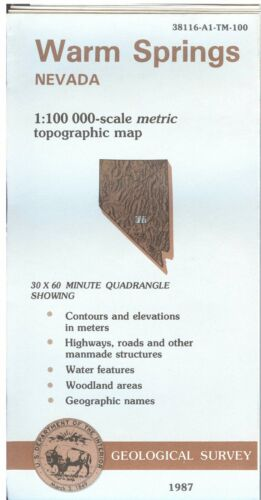 USGS Topographic Map  WARM SPRINGS Nevada 1987 - 100K -