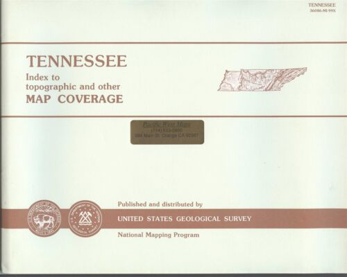 USGS State Index for Topographic Maps TENNESSEE - 1993 -