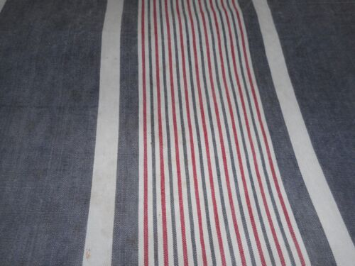 Antique Primitive French Wide Stripe Ticking Fabric ~Softened Dk. Blue Red ~