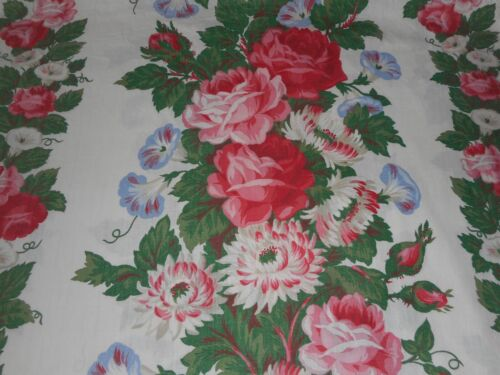 Antique Vintage Cottage Roses Morning Glory Floral Fabric Curtain~ Pink Blue