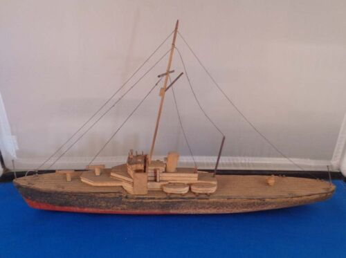 Vintage Folk Art Hand Made Ocean Cargo Ship 12""
