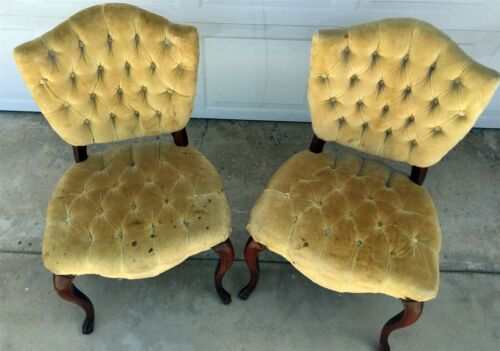 Antique French-style Tufted Upholstered Chair Pair -one set of two- yellow green