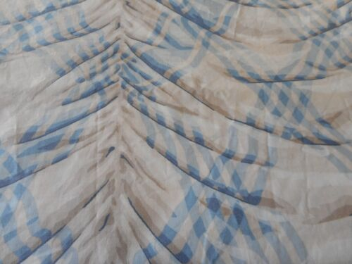 Vintage Kaufmann Gingham Drape Design Furnishings Fabric ~ Blue Taupe Gray