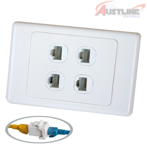 4 Gang RJ45 Cat6 Network LAN Coupler F/F Wall Plate Clipsal Style 4 port cw4c6ff