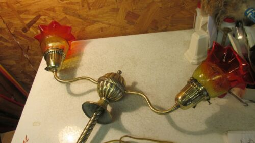 Antique Brass 2 Arm Light Fixture and Amberina Shades