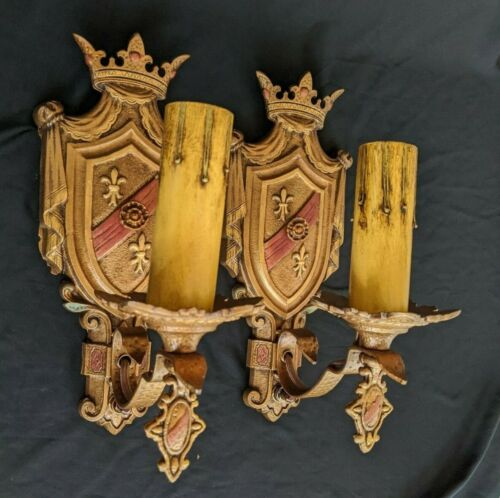 1920's Heraldry Themed Sconces, Cast Iron, Rewired, New Switches & Candle Covers