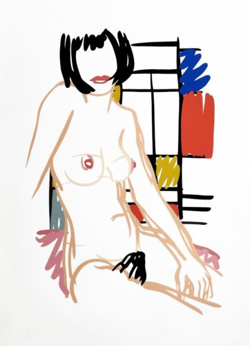 """TOM WESSELMANN """"MONICA SITTING WITH MONDRIAN"""" 1989   HAND SIGNED   LARGE 51X37"""""""