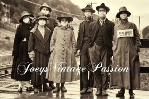 """Antique 1918 FLU PANDEMIC Family in Mill Valley, CA Vintage 4""""x6"""" Sepia Reprint"""