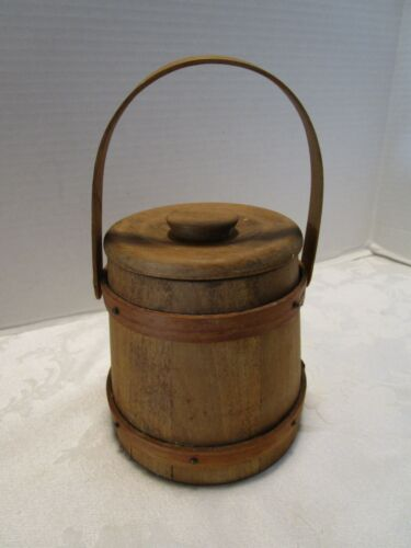 "VINTAGE SMALL 5"" WOOD FIRKIN PANTRY BOX SUGAR BUCKET W/LID SWING HANDLE"