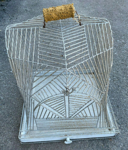 "Art Deco 1920's Antique Heavy Metal Silver Bird Cage 18"" Square Spider WEB Style"