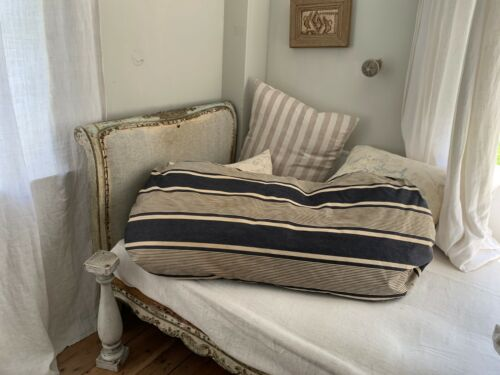 Antique Ticking French Bolster body pillow striped blue indigo feather insert