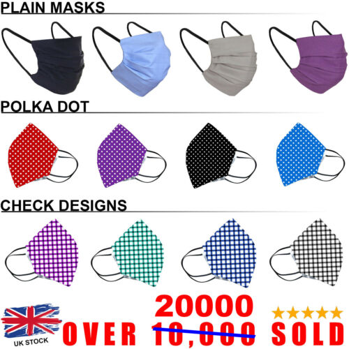 Cotton Face Mask Washable Reusable Breathable UK Virus Protective Filter Pocket <br/> 🔥 LIMITED TIME DISCOUNT SALE ON DIFFERENT DESIGNS  🔥