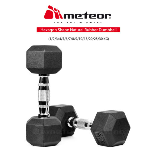 METEOR 1-30kg Pair Rubber Hex Dumbbell Fitness Gym Strength Weight Training