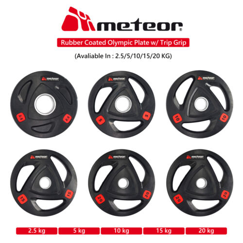 METEOR Rubber Olympic Weight Plate Weight Lifting Bumper Barbell Dumbbell <br/> 2.5/5/10/15/20kg Pair