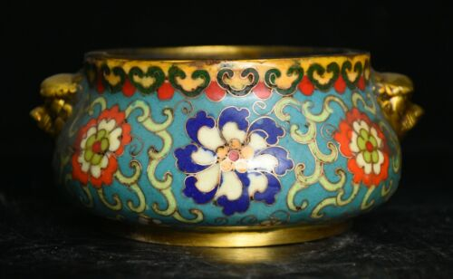 """5.8"""" Rare Chinese Bronze Cloisonne Hand Carved Dynasty Palace Flower Jar Pot"""