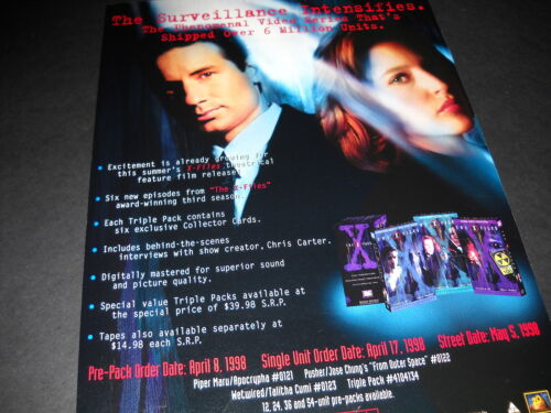 X-FILES The Surveillance Intensifies 1998 PROMO POSTER AD in mint condition