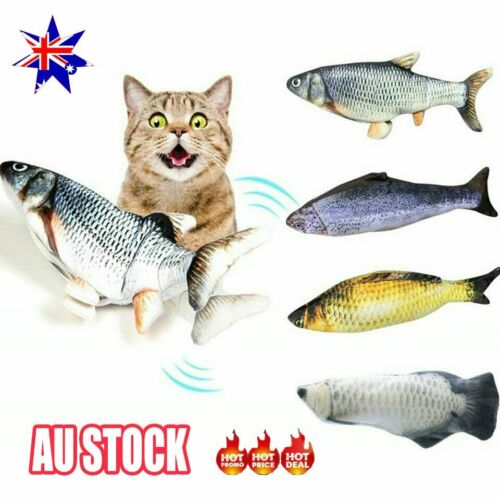 "12 "" USB Electric Interactive Cat Toy Wagging Fish Realistic Plush Catnip Mint"