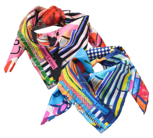 Foulard Christian Lacroix 100% seta Made in Italy 70x70 cm donna JP205