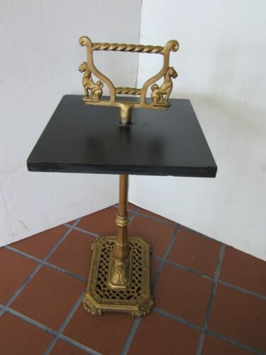 """Vintage Cast iron black slate table stand panthers Egyptian Revival 1950's 25"""" H"""