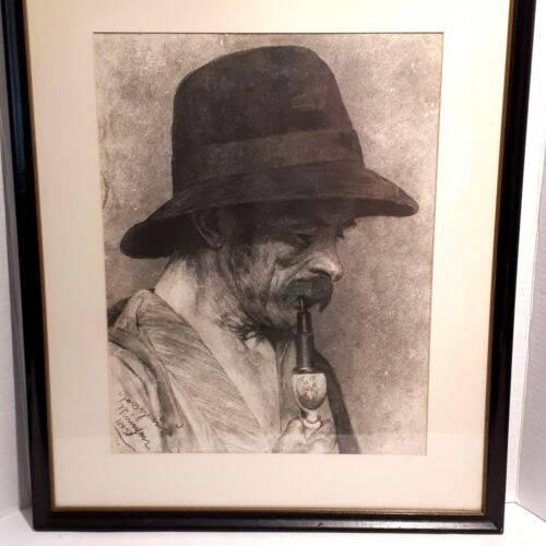 Charcoal Portrait Man in Hat Framed and Signed by Artist