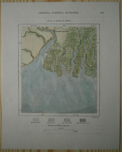 1883 Perron map ENTRANCE TO HOOGHLY RIVER, WEST BENGAL, INDIA (#84)