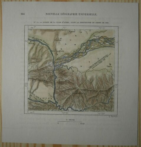 1883 Perron map ENTRANCE TO WATER GAP OF ATTOCK ON INDUS RIVER, PAKISTAN (#56)