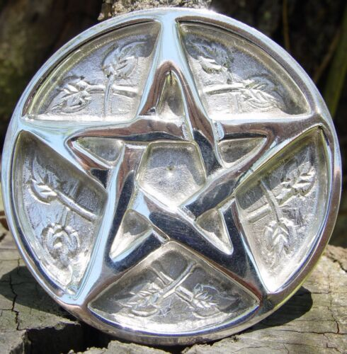 SILVER METAL PENTACLE ENGRAVED ALTAR TILE 76 mm Wicca Pagan Witch Goth