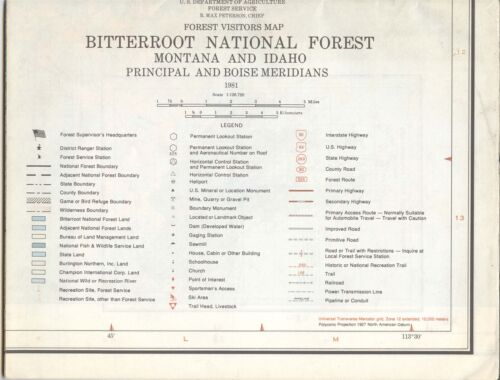 USDA National Forest Service Map BITTERROOT Montana Idaho 1981