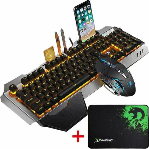 Wired Yellow LED Backlit Ergonomic Gaming Keyboard Mouse Set For PS4 PC Laptop