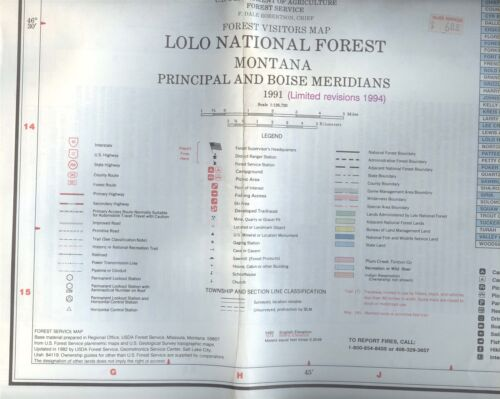 USDA National Forest Service Map LOLO Montana 1991 rev.1994 -5 Ranger Districts-