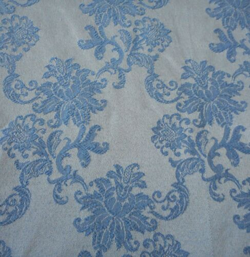 Vintage Retro French Blue Floral Cotton Damask Fabric Mattress Cover w/ zipper
