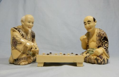 Antique hand carved Japanese resin netsuke chess go players circa 1950s