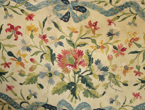 Tapestry Antique French Floral & Ribbon Gros Point 18th Century Wool & Hemp aged