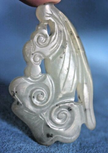 Antique Chinese Green Jade Double Sided KOI FISH Carving Hand Carved Pendant