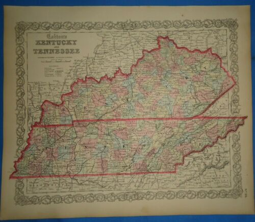Antique 1862 Colton Atlas Map ~ KENTUCKY - TENNESSEE ~ Old & Original ~ Free S&H
