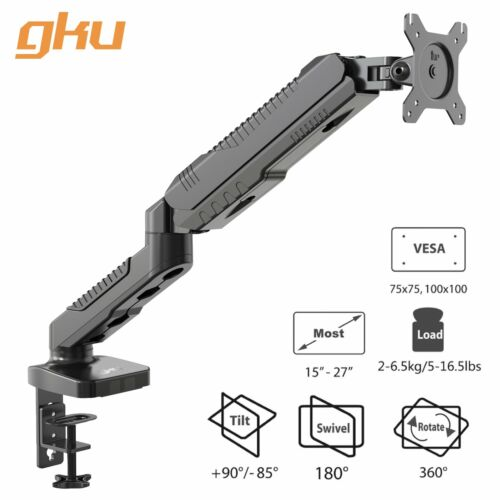 gku™ Monitor Desk Mount Stand Full Motion Swivel Monitor Single Arm Gas Spring