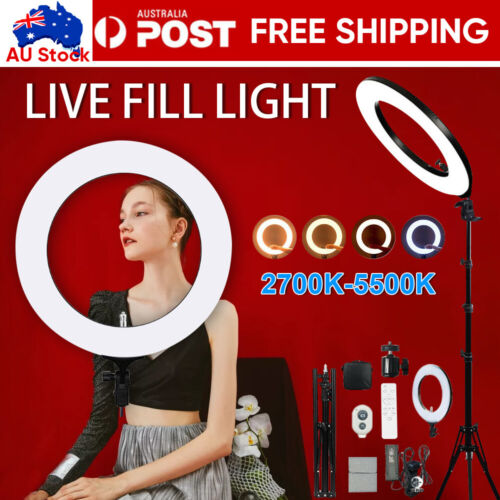 10-19 inch Dimmable LED Ring Light Tripod Stand Selfie Mini Circle Lamp Make Up