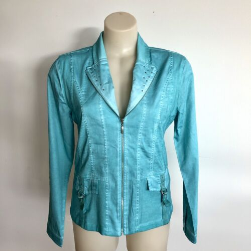 Dolcezza Small Turquoise Cotton Jacket In Woven & Stretch Fabric & Stud Detail.