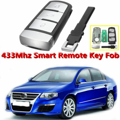 VW PASSAT KEY GENUINE 3 Buttons 433 MHZ B6 B7 3C ID48 Chip Flip Car Key Fob <br/> ***** GENUINE Comes Complete with VW Logo On Back *****